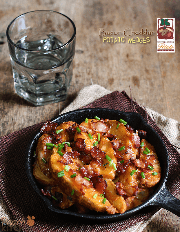 Bacon Cheddar Potato Wedges Made With USPB Frozen Potatoes