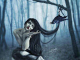 Girl In The Dark Forest And A Raven
