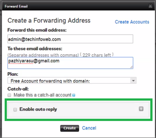 godaddy-forward-email-enable-auto-reply
