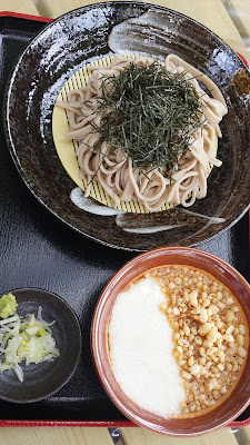 Zaru tanuki tororo soba, buckwheet soba noodles with seaweed on top (zaru soba) and a bowl with Tsuyu (a broth/sauce made from mirin, dashi, and soy sauce that you add wasabi and scallions to). Then there's tanuki which means served with tenkasu, crunchy bits of leftover fried tempura batter. And here we can also try tororo, gelatinous grated yam.