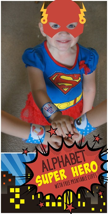 Alphabet Super Hero Kids Activities - super cute free printable letter cuffs perfect for a letter of the week program for toddler, preschool, prek, or kindergarten. Lots of clever ideas to use them too!!!