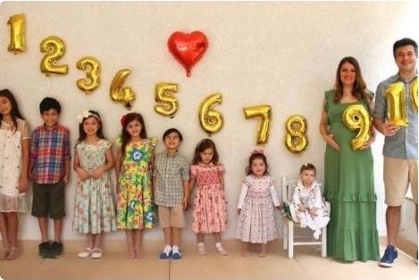 Mãe de oito filhos faz sucesso nas redes após anunciar gravidez de gêmeos
