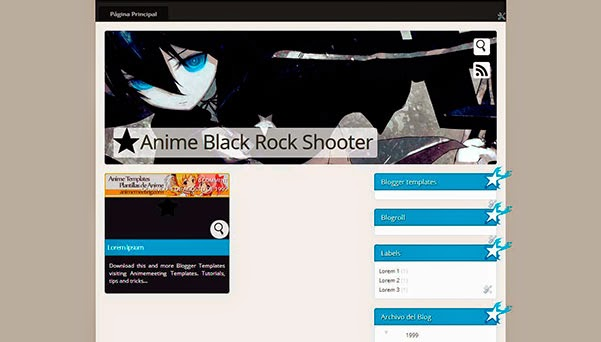 anime blogger template Black Rock Shooter