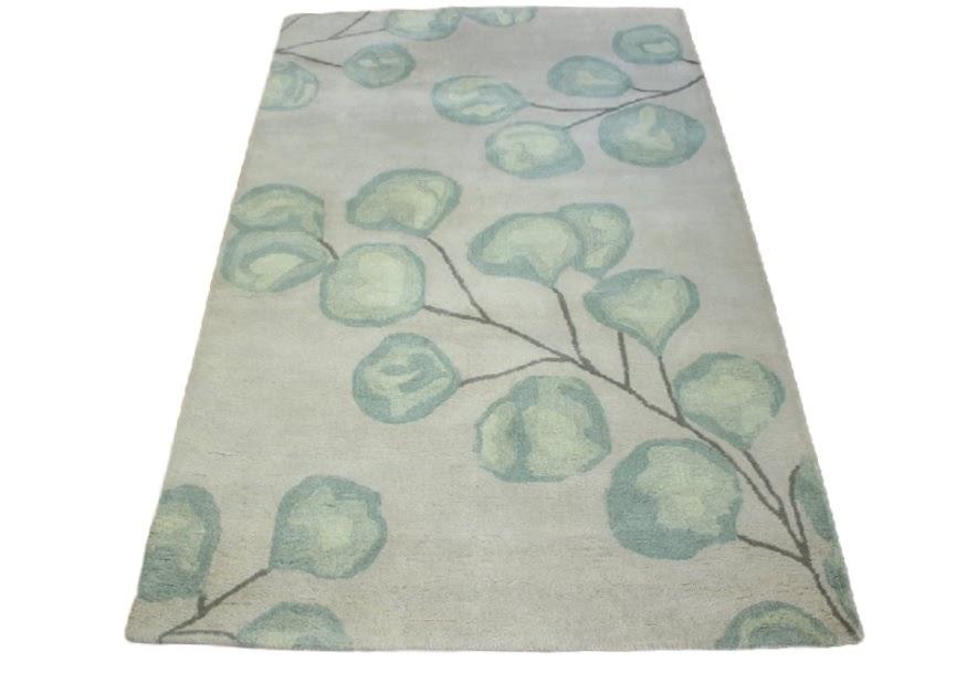 100% wełnany dywan z Indii ręcznie taftowany złoto szary piękny nowoczesne kwiaty 150x240cm