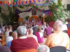 Sadhu Maharaja and Vaishnava Maharaja listening to Prem Prayojan's Krishna Katha