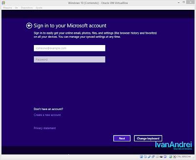 Instalación de Windows 10 - VirtualBox - Iniciar sesión con tu cuenta Microsoft