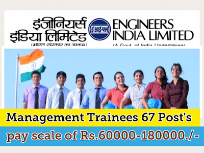 indian govt job alerts: ENGINEERS INDIA LIMITED Recruitment 67 Management Trainees post