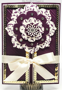 Linda Vich Creates: Beloved Blackberry Bliss for International Stampin' Up! Blog Hop. A glitzy yet elegant card created in Blackberry Bliss and Very Vanilla using the Floral Frames Collection Framelits and First Sight stamp set.