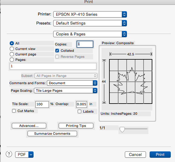 How to print large image on multiple sheets