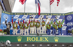 Prizegiving GTE Am 2nd: 67 - IMSA PERFORMANCE MATMUT (FRA) 1st: 50 - LARBRE COMPETITION (FRA) 3rd: 57 - KROHN RACING (USA) (PHOTO: Rolex / Stephan Cooper)