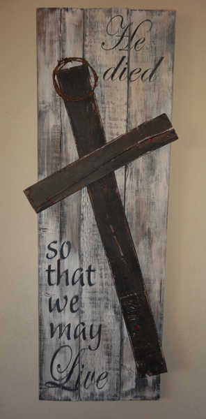 Wooden Cross Pallet Easter Art