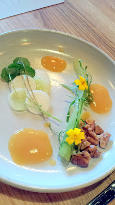 Celtuce, harukei turnips, peach puree, Soarer cucumber, fried walnuts