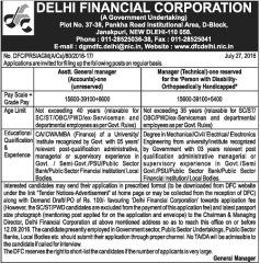 Delhi Financial Corporation Jobs 2016