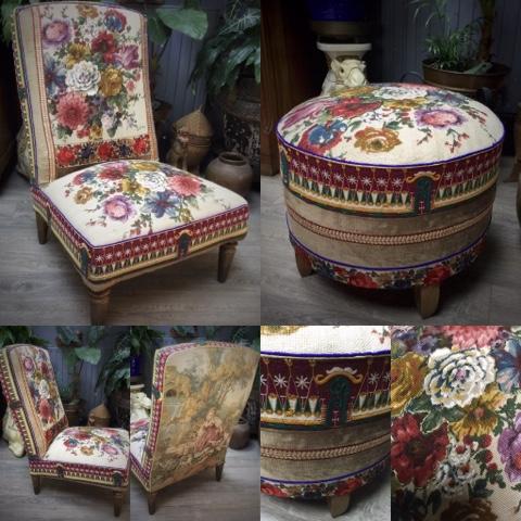 nathalie gagneux cr ations petit fauteuil et pouf assortis toile de jute imprim e galons. Black Bedroom Furniture Sets. Home Design Ideas