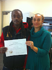 Olujimi Mabrey, with teacher Sonya Nimtz, PREP student completed his GED December 2013