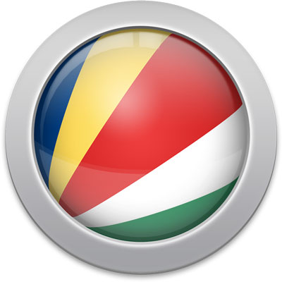 Seychellois flag icon with a silver frame
