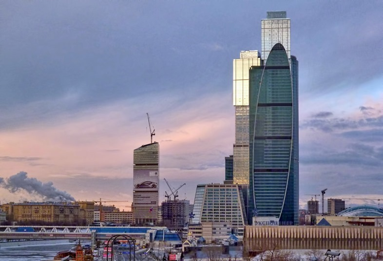 View of the Expocenter building in Moscow against the beautiful evening sky.