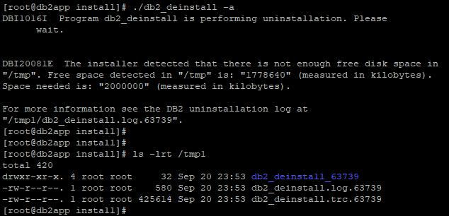 db2_deinstall error : DBI20081E