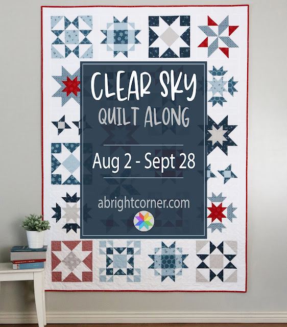 Clear Sky quilt along with A Bright Corner - a fun modern star quilt pattern