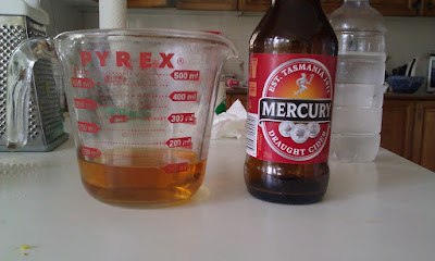 Figure 3: A 385ml bottle of Mercury Cider and 100ml of reduced cider.