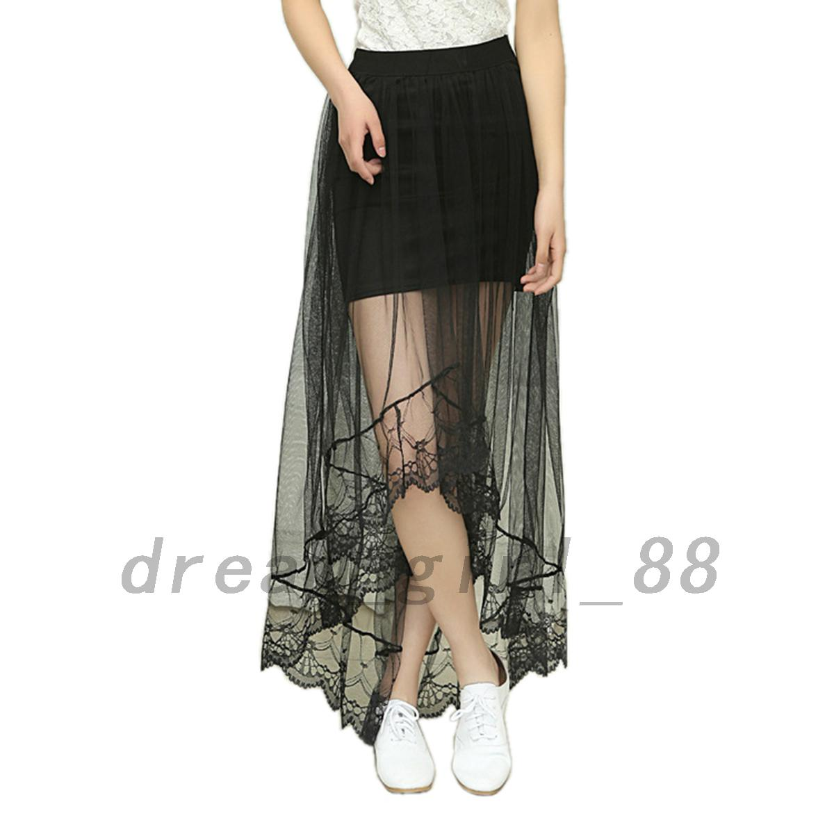 Airy-Mesh-Women-039-s-Lightweight-Floral-Evening-Cocktail-Party-Prom-High-Low-Skirt