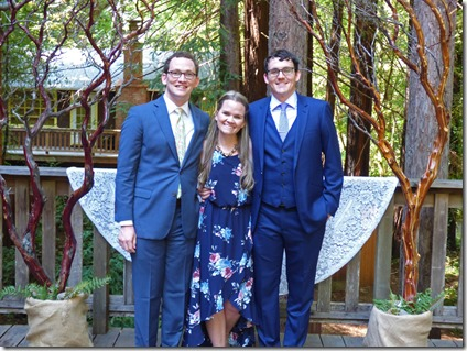 Michael with brother Ryan and Sister Stephanie  -- Michael and Anna, Wedding Day, Camp Meeker California, July 21, 2018
