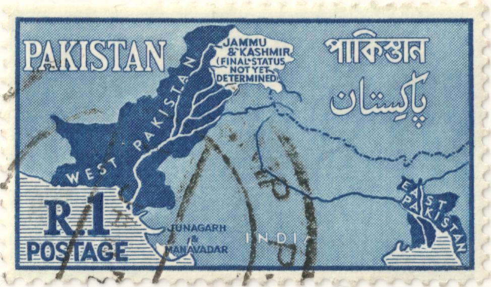 MapPakistanpostage2CR12Cblue2Cstamp2CWestPakistan2CEast Pakistan2CIndia2CJammu26Kashmir28Finalstatusnotyetdetermined292C