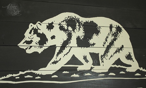 Painted Stenciled California Flag