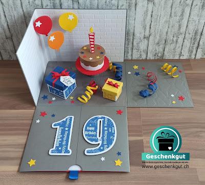 Geschenkbox Explosionsbox Überraschungsbox Geburtstag Torte Geburtstagstore Geburtstagsparty Party