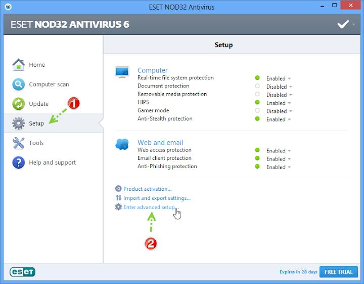 การเปิดใช้งานโหมดสำหรับผู้เล่นเกมบน Nod32 และการกำหนดค่า Nodgame05