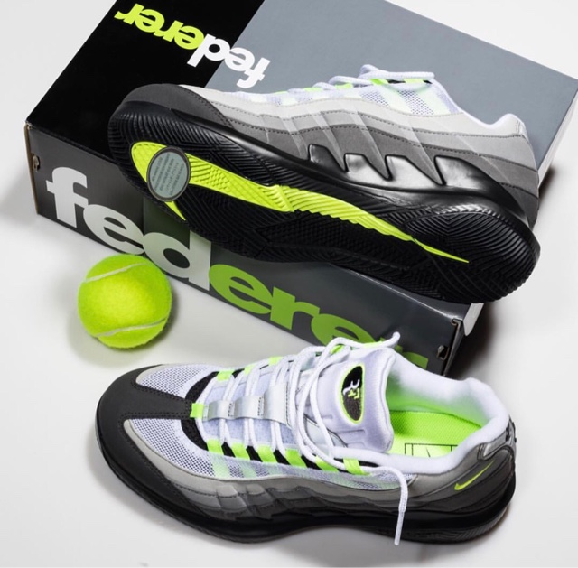 "finest selection 956b3 f1d3e The new Vapor RF x AM95 ""Neon"" matches the lightweight innovation of Roger  Federers NikeCourt Vapor X with the iconic Air Max 95."
