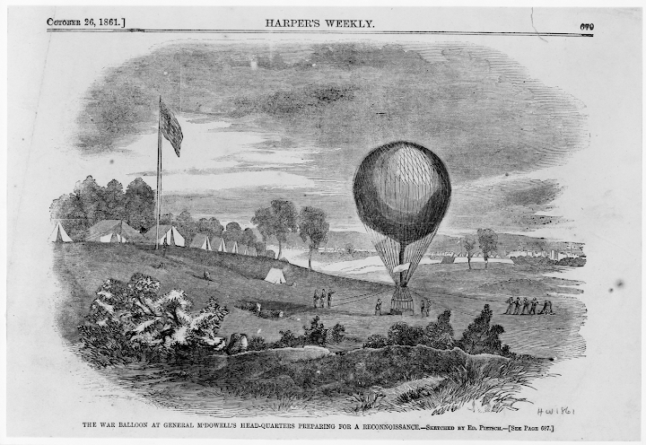 The War balloon at General M'Dowell's head-quarters preparing for a reconnoissance