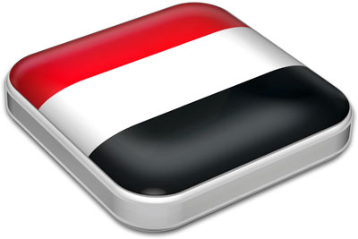 Flag of Yemen with metallic square frame