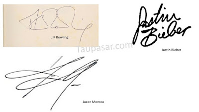 contoh gambar tanda tangan huruf J