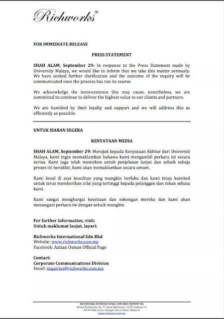 Terkini: Kenyataan Media Azizan Osman