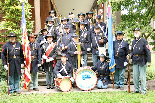 5th MI Band with the Color Guard on the steps of Spiegel Grove Mansion