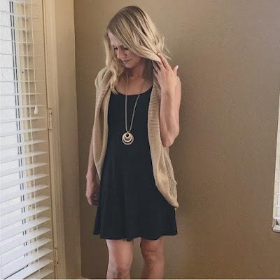 Thrifty Wife, Happy Life- Cardimom worn with a black sundress
