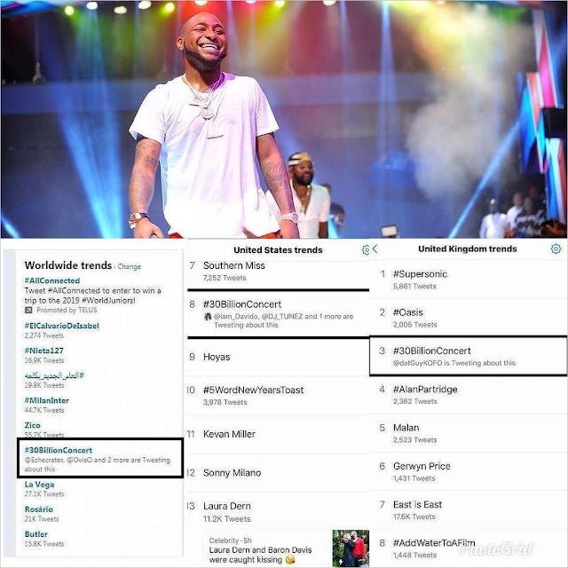 Davido's #30BillionConcert Becomes First Nigerian Concert To Trend Worldwide (Photos)