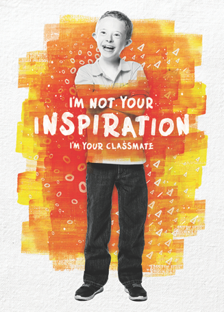 "illustration of a school boy with the text ""I'm not your inspiration. I'm your classmate""."