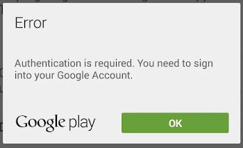 google play authentication error