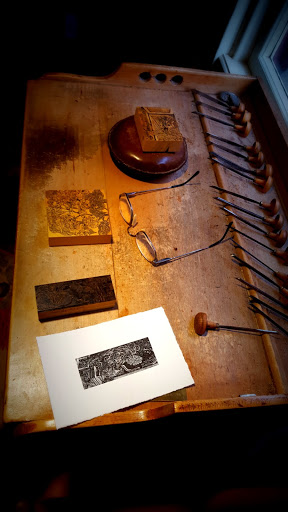 Inside the studio of wood engraver Gerard Brender à Brandis, Stratford, Ontario