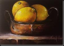 Three lemons in copper bowl 2