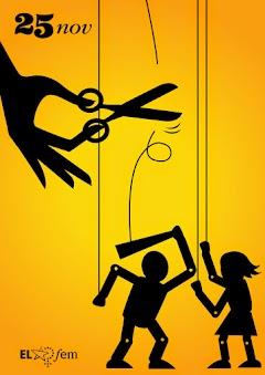 Poster: Mann und Frau als Marionetten. Schere in Frauenhand schneidet Schnur zum Knüppel durch.