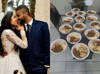 Casal faz kits com alimentação servida em casamento e doa para moradores