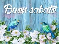 buon sabato immagine con frase aforisma uccellini fiori bianchi azzurri blu.jpg