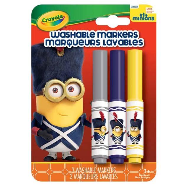 Bộ 3 bút lông Minions tẩy rửa được màu xám, tím, vàng