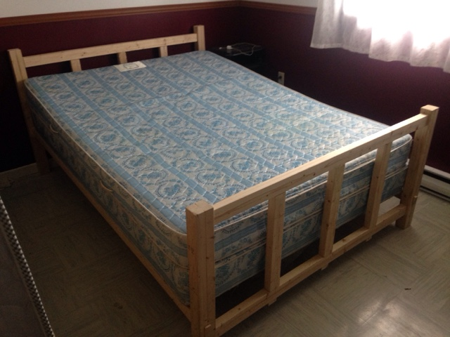 Good After allot of work I test fitted the bed with just the two side rails headboard and footboard I used an old boxspring and mattress for the test