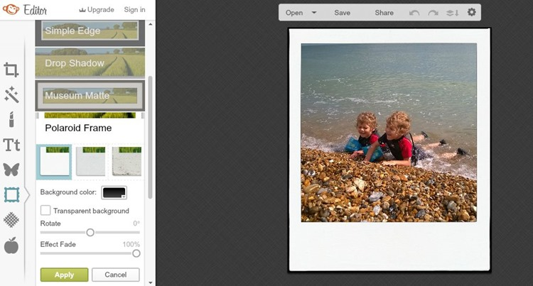 upload your photo as usual make any edits you feel necessary and then go to frames from the drop down menu select polaroid frame