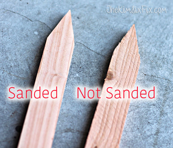 Sanding survey stakes