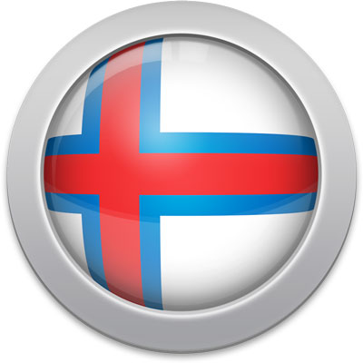 Faroese flag icon with a silver frame